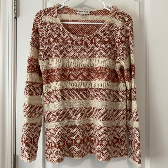 Lightweight Cream and Rose Colored Sweater